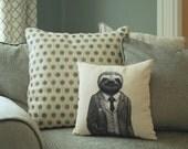 Stylish Sloth Pillow - Sloth Throw Pillow - Sloth Art - Animal Pillow - Home Decor  - Kids Pillow