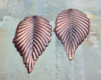 5 Leaf Pendants / Antique Copper Leaf Pendants / Leaf Pendant / Leaf Pendants