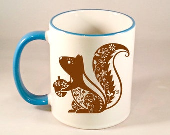 Whimsial Squirrel Coffee Mug, Funny Coffee Mug, Cute Squirrel Coffee Cup, Squirrel Mug, Sublimated 11 oz Colored Handle & Rim 4 Colors