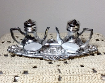 Vintage Teapot Shaped Silvertone Salt and Pepper Shakers with Tray