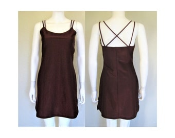 90s Shimmery Burgundy Criss Cross Strappy Dress - size Large