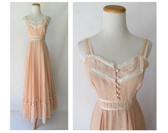 Gunne Sax Dress 70s Boho Hippie Wedding Pastel Peach Pink Lace Sundress 1970s Maxi Size 7 XXS XS Jessica McClintock