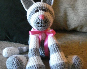 "Crocheted kitty cat stuffed animal doll toy ""Duffy"""