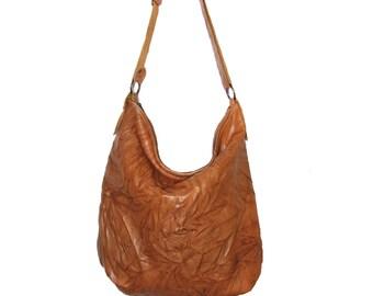 Handmade brwon leather hobo bag