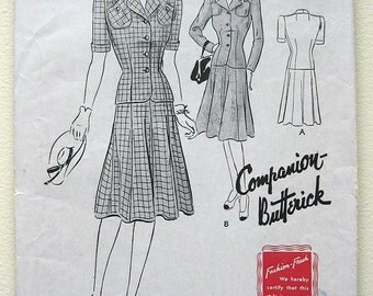 Vintage 40s Butterick Two Piece Suit Sewing Pattern 1445. Gored Skirt. Size 15 Bust 33""