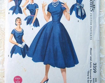 Vintage 50s Junior Accessory Dress. Easy to Sew.  McCall 3359 Sewing Pattern. Size 12