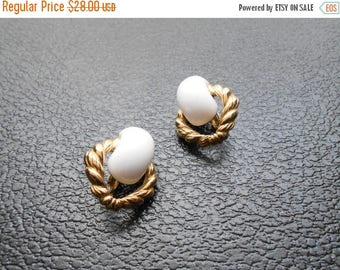 30% SALE - vintage earrings - Trifari gold white clip on earrings - vintage Knock Three Times earrings