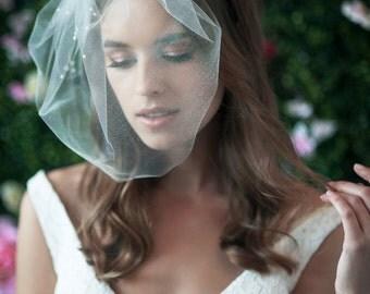 MARIE MEDIUM w/ Pearls Cluster Top - birdcage veil, bird cage veil, blusher veil, tulle bridal birdcage veil, tulle veil, small blusher,