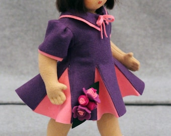 Hand Made Wool Felt Girl in Purple and Pink Dress with Flowers