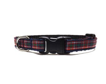 The Acadia - Red & Blue | Plaid Cat Collar with Bell