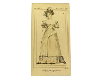 French Antique Hand-Colored Engraving of the Duchess of Berry.