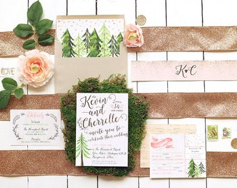 Rustic Glam Wedding Invitation - Pink & Gold Forest Wedding Invites - Printable Invitation Suite