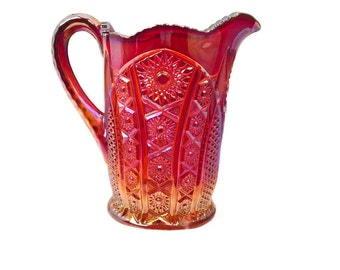 Red Sunset Heirloom Carnival Glass Pitcher by Indiana Glass