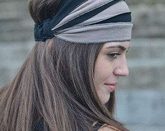Dark Beige Black Headband, Black Wrap, Bohemian Headband, Hair Accessories, Womens Gift, Womens Turban, Womens Headband, Vintage Headband