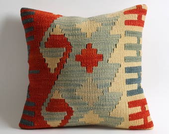 16x16 kilim cushion cover modern decorative aztec pillow turkish kilim pillow bedding pillow