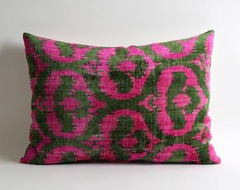 ikat, pink velvet pillow, throw pillow, pillow cover, velvet ikat pillow, neon pink pillow, pink cushion, ikat pillows, ikat throw pillows