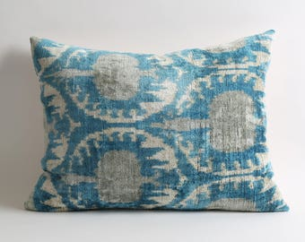 Uzbek ikat pillow cover 16x20 silk velvet ikat