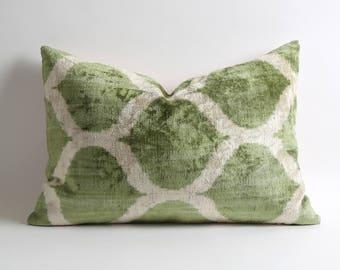Ikat pillow cover designer ikat pillow decorative throw velvet ikat pillow throw ikat pillow green white