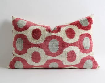 Pink white gray velvet pillow cover // silk velvet ikat pillows // pink decorations // pink decorative pillows