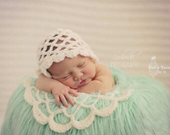 Newborn, Bonnet, Hat, Posing, Doily, Blanket, Ivory, Baby Hat, Baby, Girl, Vintage Style, Photo Prop, Set, Basket Liner