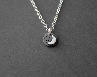 Handmade Tiny Fine Silver Moon and Stars Necklace -  Silver Jewelry - Silver Moon Jewelry - Moon Star - Sky Jewelry