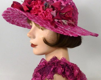 Hot Pink Straw Kentucky Derby Hat - Vintage Flowers Roses - Hand Dyed Vintage Woven Straw Braid - Church - Luncheon - Races - Cancer Events