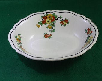 "Vintage 1918 Homer Laughlin  9"" Oval Serving Bowl Yellow, Black, Orange Garden Tree Floral Pattern 1 8N 7"