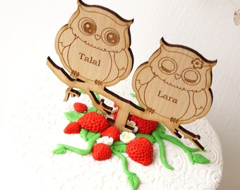 Owls cake topper - wedding cake topper - rustic cake topper - owls topper - wooden wedding cake topper - personalized custom cake topper