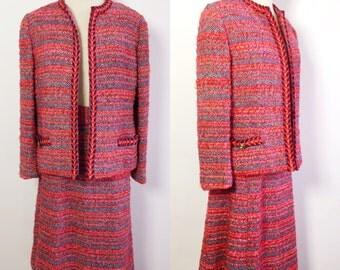 Vintage Tweed 2pc Womens Suit / Pink Tweed Suit / Tweed Skirt and Jacket / 1950s Pink and Purple Suit / Pink and Purple Tweed / 50s Suit