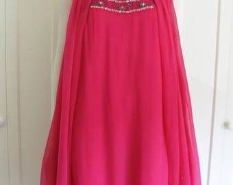 Vintage 60's Hot Pink Party Dress - Sleeveless Shift Dress with Sheer Attached Cape and Beading Sz Medium