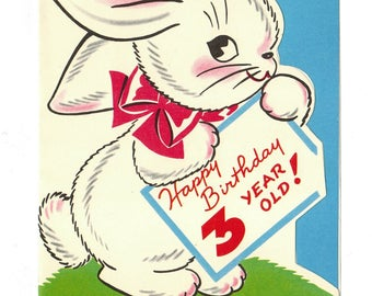 Vintage UNUSED BIRTHDAY Greeting Card Anthropomorphic Bunny Rabbit for 3 Year Old