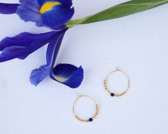 small Creole gold gold end and lapis lazuli