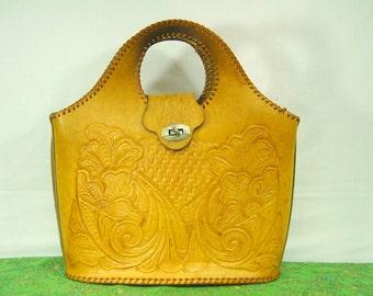 Vintage Hand Tooled Leather Purse - Hand Made Leather Purse - Art Nouveau Floral Handbag - Genuine Leather tooled Purse