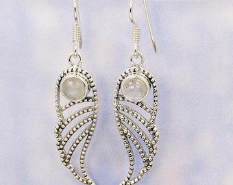 Angelic Wings Moonstone Earrings & Sterling Silver Earrings AE938 The Silver Plaza