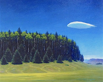 Utah 'High Country' - original landscape painting - oil - trees - aspens - turquoise - greens - square - meadow painting -18x18