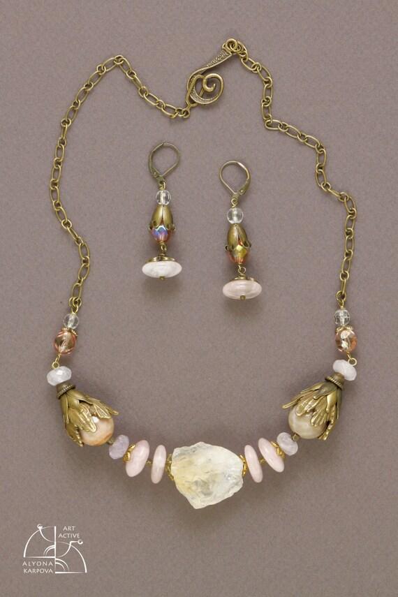 Citrine vintage jewelry set. Unusual necklace, long rose quartz earrings. Art nouveau jewel. Beautiful gift for her