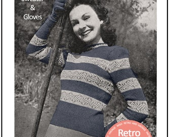 1940s Fair Isle Sweater and Gloves  Knitting Pattern - Instant Download - PDF 40s knitting pattern
