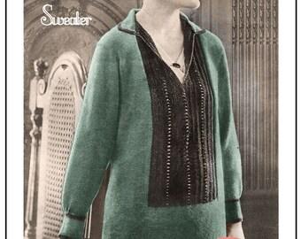 1920s Tunic Sweater Knitting Pattern – PDF Knitting Pattern - PDF Instant Download