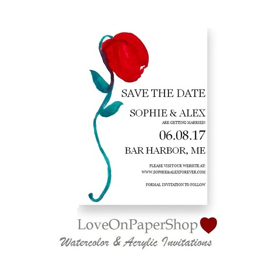 save the date template printable invitation red rose bloom. Black Bedroom Furniture Sets. Home Design Ideas