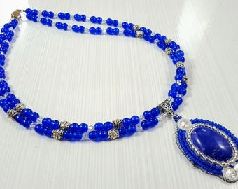 Cobalt blue necklace - Cabochon necklace - Cabochon pendant - Handmade beaded jewelry - Embroidered pendant - Czech bead necklaces