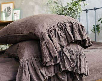Linen RUFFLE PILLOW SHAM. Chocolate brown color linen pillow case. Queen King Standard pillowcase - Stonewashed and soft.