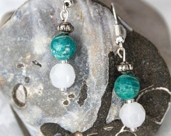 Malachite and Crystal Earrings