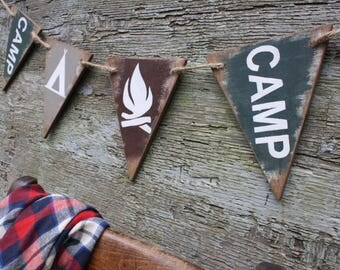 Camping Wood Banner Pennant Camping signs Camping Decor Rustic Decor Cabin Decor Tent Camp Fire