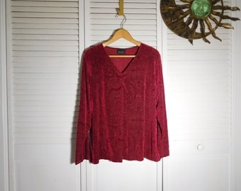 "Dark Red Burnt Velvet Look Lady Tunic Long Sleeve No Collar V Neck Raised Velvet 48"" bust No Tags Size Large Xl Pls See Measurements Listed"
