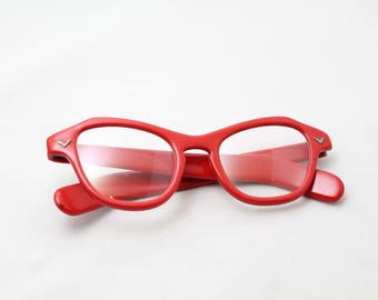 Vibrant Red Clear Glass Eyeglass Frames Vintage 1960s SUPER CUTE