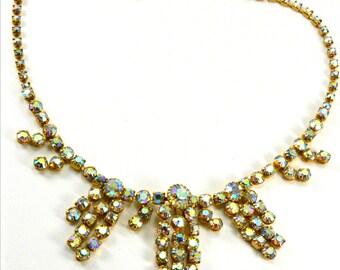 Stunning vintage Aurora Borealis spray drop necklace. AB necklace