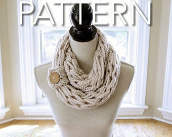 Arm Knit Scarf Pattern // Infinity Scarf Pattern // Chunky Scarf // Button Cuff Pattern // Beginner's Pattern // Simply Maggie