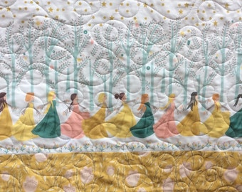 Baby quilt, toddler quilt, child's quilt, princess quilt, enchanted forest, nursery bedding, pink, yellow, green, gold