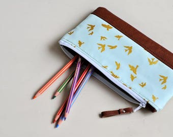 Recycled Brown Leather Pencil Case Zipped Pouch Make Up Bag, Accessory Bag Pencil Pouch Stationery Holder Coin Purse Wallet Blue Gold Bird