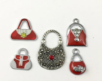 5 handbag silver tone and enamel charms, 38mm to 48mm# ENS A 621-1